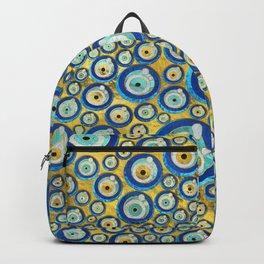 Greek Blue Glass Evil Eye Amulet Pattern Backpack