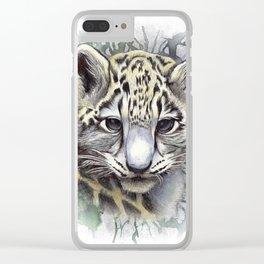 Snow Leopard Cub Watercolor Portrait Clear iPhone Case