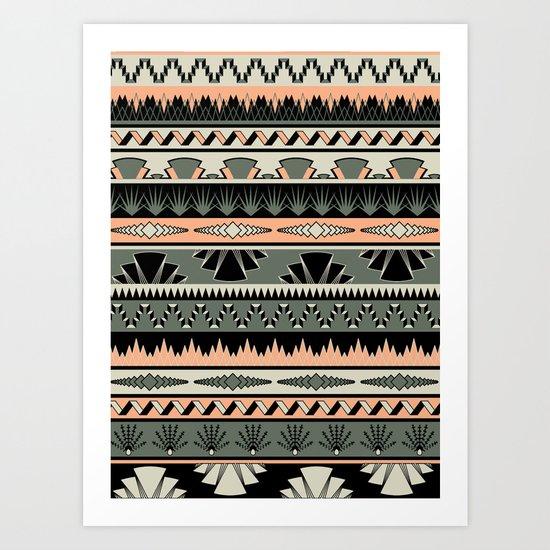 art deco stripes - salmon Art Print