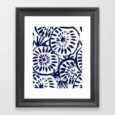 Painted Medallions Navy Framed Art Print