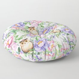 Watercolor hand painted pink lavender brown floral cute owl pattern Floor Pillow