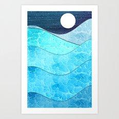 Ice Blue Waves Art Print