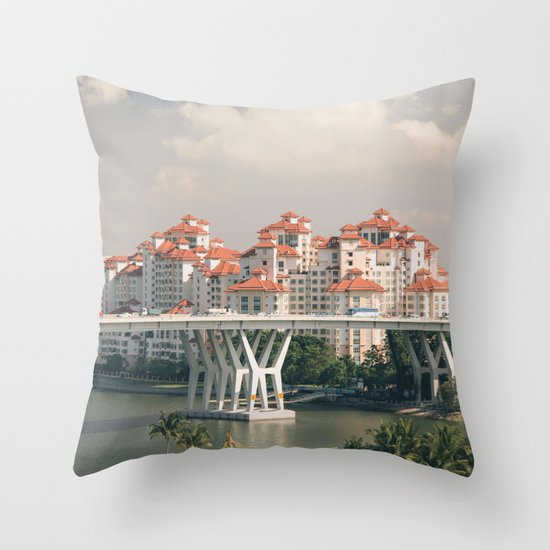 Red rooftops Throw Pillow