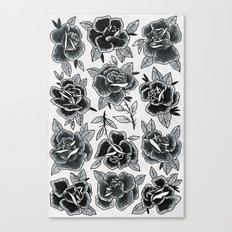 Dozen Roses - Black and White Canvas Print