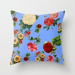 Blue vintage roses Throw Pillow