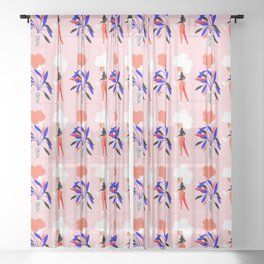 Women's plant - Supporting each other Sheer Curtain