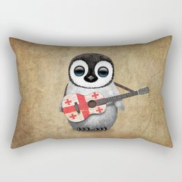 Baby Penguin Playing Georgian Flag Acoustic Guitar Rectangular Pillow