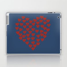 Hearts Heart Red on Navy Laptop & iPad Skin