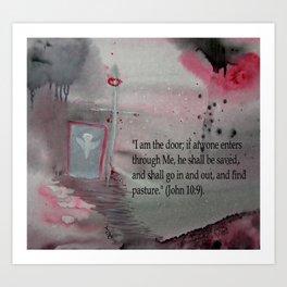 The Door----Religious Abstract Art --- John 10:9 --- by Saribelle Rodriguez Art Print