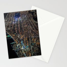 Lower Manhattan Street-view Landscape Painting by Jeanpaul Ferro Stationery Cards