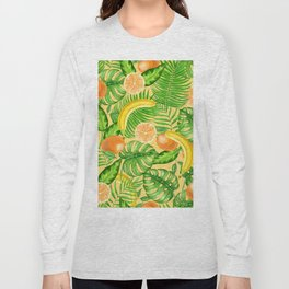 Tangerines, bananas and tropical leaves Long Sleeve T-shirt