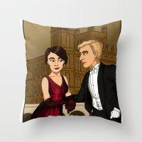 downton abbey Throw Pillows featuring Downton Nouveau by mikaelak