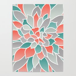 Floral Prints, Coral, Teal and Gray, Art for Walls Poster
