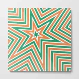 Geometric Star Line Art Orange Green Metal Print