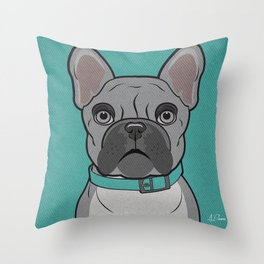 Icons of the Dog Park: French Bulldog Design in Bold Colors for Pet Lovers Throw Pillow