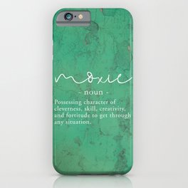 Moxie Definition - White on Green Texture iPhone Case