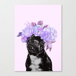 Bulldog with Flowers Crown Canvas Print