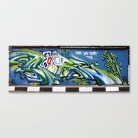 sticker Canvas Prints featuring Sticker wall by squadcore