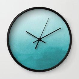 Aqua Teal Turquoise Watercolor Ombre Gradient Blend Abstract Art - Aquarium SW 6767 Wall Clock