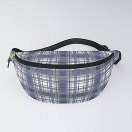 Navy Blue and Gray Plaid Fanny Pack