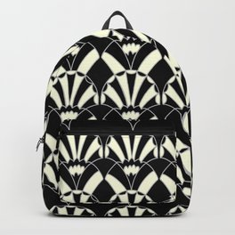 Art Deco Fans 1.3 Black Background Silver & Cream Backpack