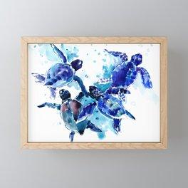 Sea Turtles, Marine Blue underwater Scene artwork Framed Mini Art Print