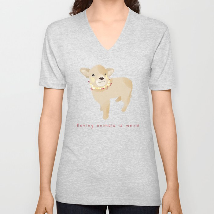Eating animals is weird Unisex V-Neck