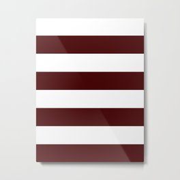 Wide Horizontal Stripes - White and Bulgarian Rose Red Metal Print