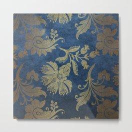 Blue Velvet Gold Floral Pattern 07 Metal Print