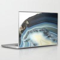 geode Laptop & iPad Skins featuring Blue Agate Geode by CAROL HU