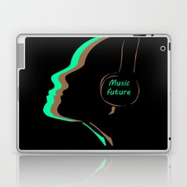 The music of the future, headphones, music, facial features Laptop & iPad Skin