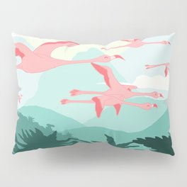 Flamingos flying through the Tropics Pillow Sham