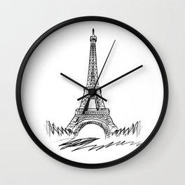 Eiffel Tower minimalist black and white illustration Wall Clock