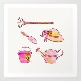 Little Gardener's Tools Art Print