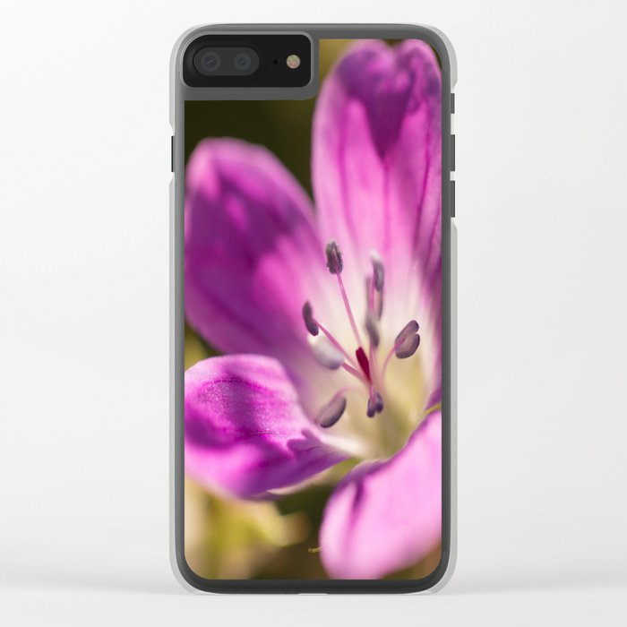 Purple flowers glow in forest #decor #buyart #society6 Clear iPhone Case