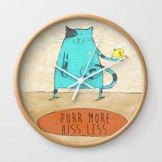 Purr More Hiss Less Wall Clock