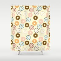 donuts Shower Curtains featuring Donuts by Sara Showalter