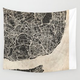 lisbon map ink lines Wall Tapestry