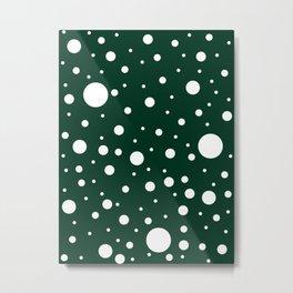 Mixed Polka Dots - White on Deep Green Metal Print