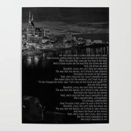 Beautiful Crazy | Luke Combs Inspired Lyric Art Print, Song Poster, Nashville Poster, Nashville Skyl Poster