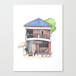 Tropical island restaurant front view travel sketch from Koh Rong island Canvas Print