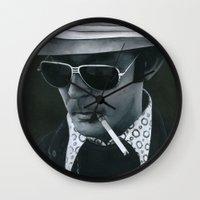 hunter s thompson Wall Clocks featuring Hunter S. Thompson on vinyl record print by Eric Popp