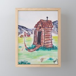 Outhouse, Primitive Art, Painting by Faye Framed Mini Art Print