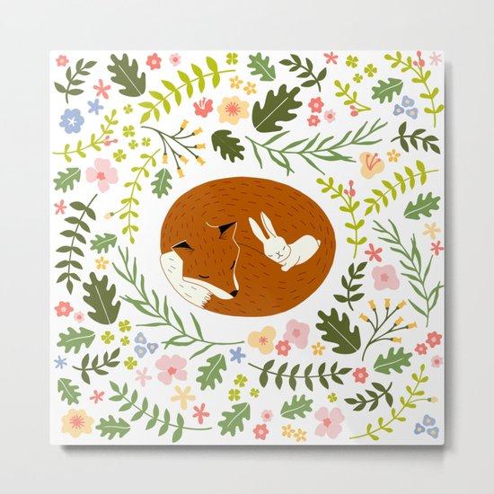 Friendship in Wildlife_Fox and Bunny_Bg White Metal Print