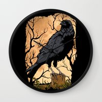 crow Wall Clocks featuring Crow by Murat Sünger