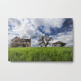 Old House In Field Metal Print