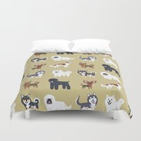 russian Duvet Covers featuring RUSSIAN DOGS by DoggieDrawings