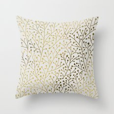 Gold Berry Branches Throw Pillow
