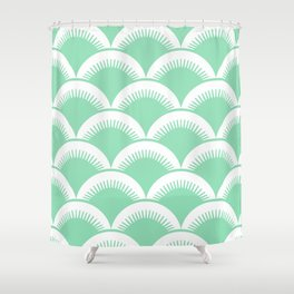 Japanese Fan Pattern Mint Green Shower Curtain
