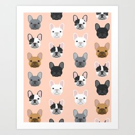 French Bulldog portraits pattern dog person gift love animal pet puppy frenchie bulldog portrait Art Print